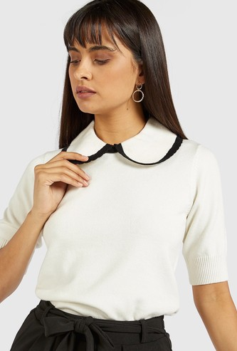 Solid Top with Peterpan Collar and Short Sleeves