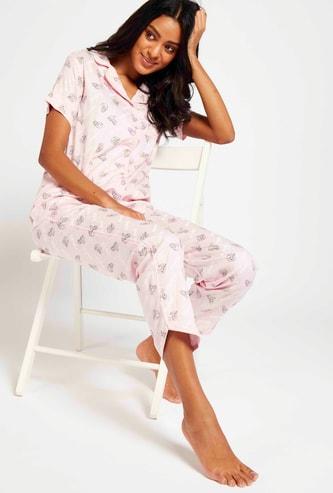 All-Over Print Short Sleeves Sleepshirt and Full Length Pyjama Set