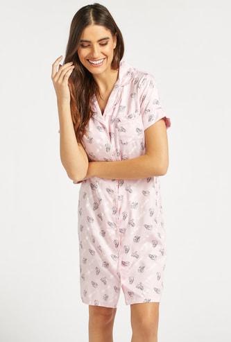 All-Over Princess Print Sleepshirt with Short Sleeves