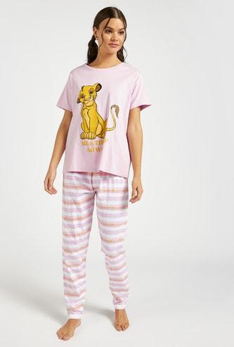 Simba Print T-shirt and Full Length Pyjama Set