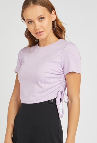 Ribbed Top with Short Sleeves and Tie Ups