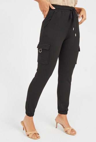 Solid Mid-Rise Cargo Jog Pants with Pocket Detail and Drawstring
