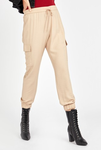 Solid Cargo Pants with Pocket Detail and Elasticised Hem