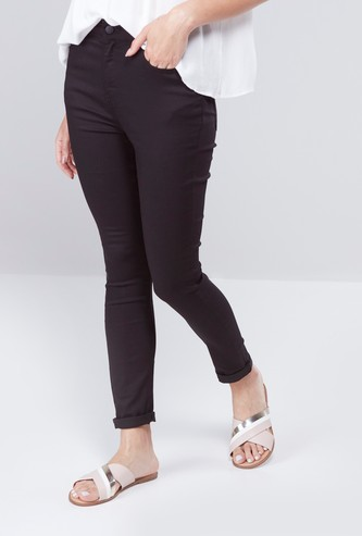 Skinny Fit High Rise Jeans with 5-Pockets
