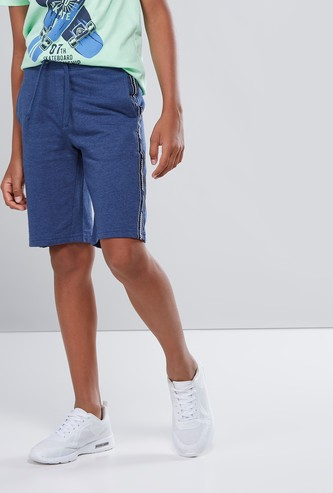 Shorts with Tape Detail and Drawstring Closure