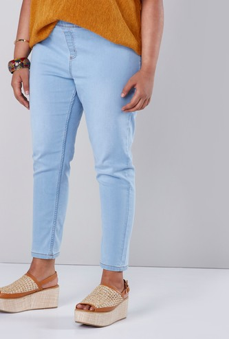 Cropped Jeggings with Elasticised Waistband