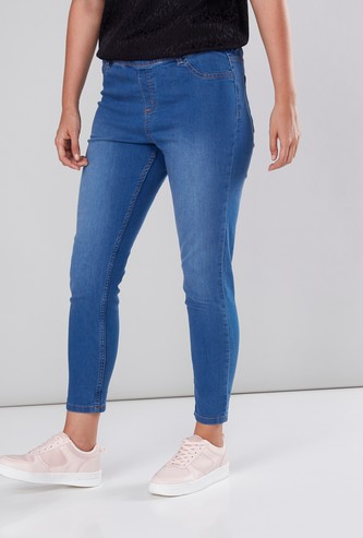 Pocket Detail Jeggings with Elasticated Waistband