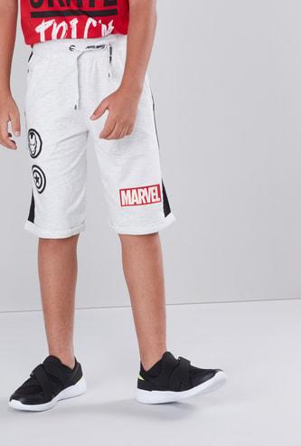 Marvel Printed Shorts with Pocket Detail and Drawstring Closure