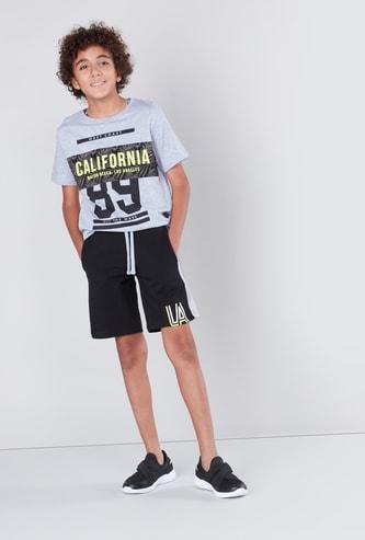 Printed Short Sleeves T-shirt with Drawstring Shorts