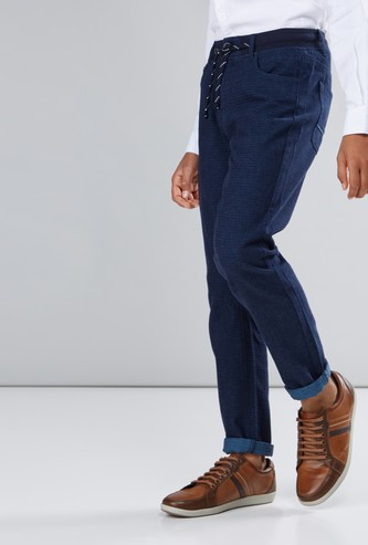 Textured Pants with Drawstring