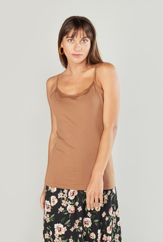 Plain Camisole with Spaghetti Straps and Lace Detail