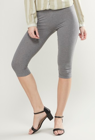 Plain 3/4 Leggings with Elasticised Waistband