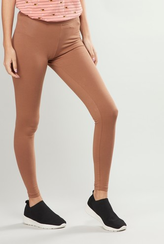 Solid Leggings with Elasticated Waistband