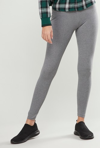 Solid Anti-Pilling Leggings with Elasticated Waistband