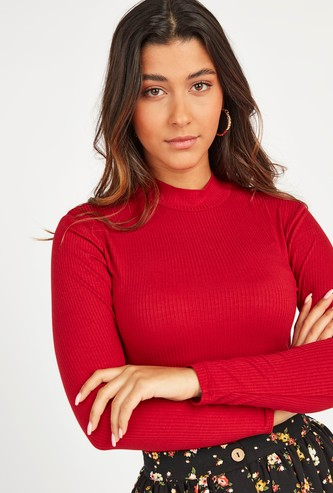 Ribbed High Neck T-shirt with Long Sleeves