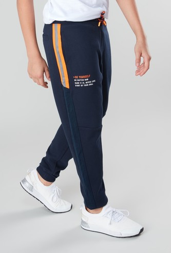Printed Joggers with Pockets and Side Tape Detail