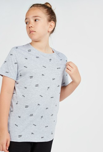 All Over Print T-shirt with Round Neck and Short Sleeves