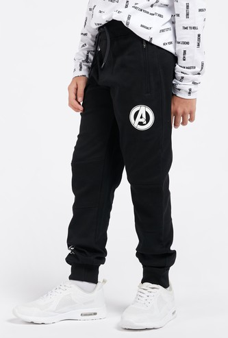 Avengers Text Print Jog Pants with Pockets and Drawstring Closure