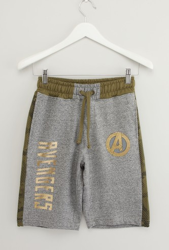 Avengers Foil Print Shorts with Pocket Detail and Drawstring