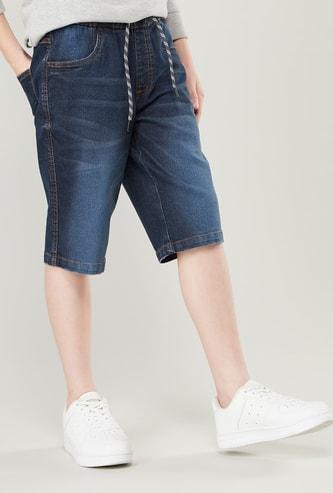 Pocket Detail Denim Shorts with Drawstring