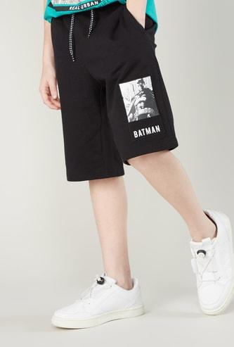 Batman Printed Shorts with Pocket Detail and Drawstring