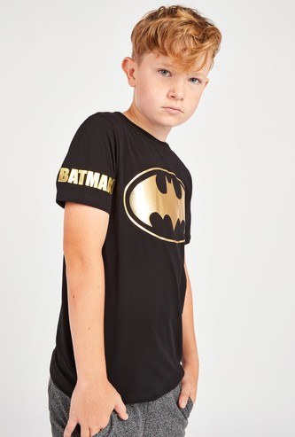 Batman Print T-shirt with Short Sleeves