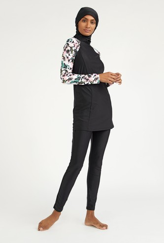 Floral Print Long Sleeves Burkini with Full Length Pants