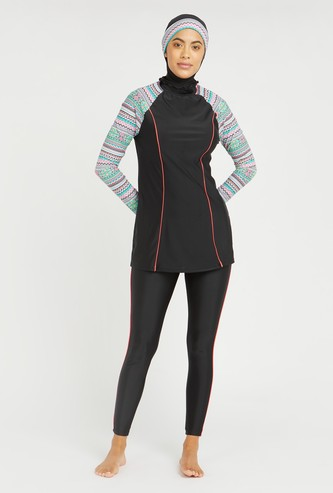 Tribal Print Raglan Long Sleeves Burkini