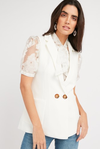 Textured Sleeveless Jacket with Notched Lapel and Pocket Detail
