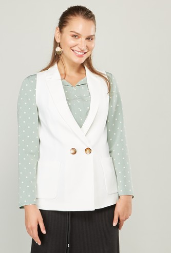Solid Sleeveless Formal Waistcoat with Pockets and Button Detail
