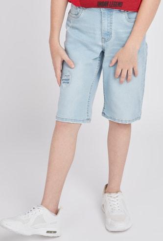 Distressed Denim Shorts with Pocket Detail