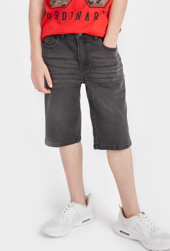 Textured Denim Shorts with Pockets and Zip Closure