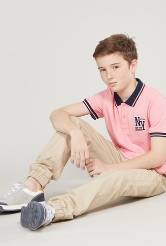 Embroidered Polo T-shirt with Short Sleeves and Contrast Tipping