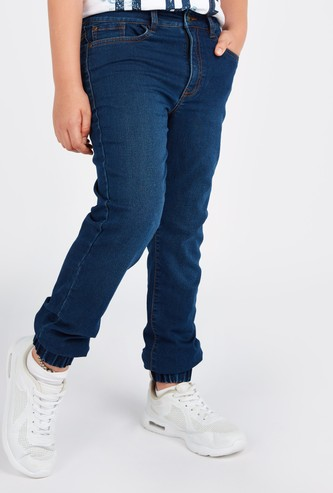Full Length Denim Jog Pants with Pocket Detail and Belt Loops