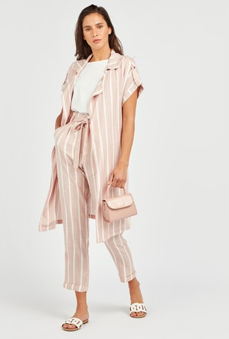 Striped Long Jacket with Short Sleeves and Tie Ups