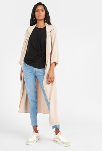 Solid Longline Jacket with Long Sleeves and Belt