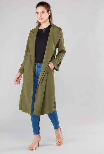 Solid Trench Coat with Long Sleeves and Pocket Detail