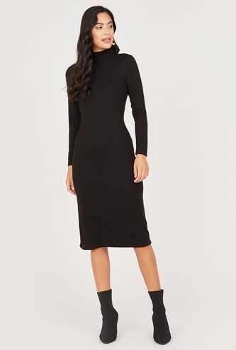 Textured Midi Shift Dress with Long Sleeves and High Neck