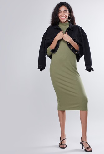 Textured A-line Midi Dress with Long Sleeves