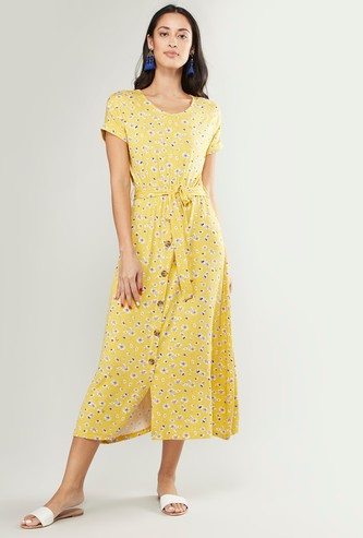 Floral Printed Midi Dress with Short Sleeves and Waist Tie-Up