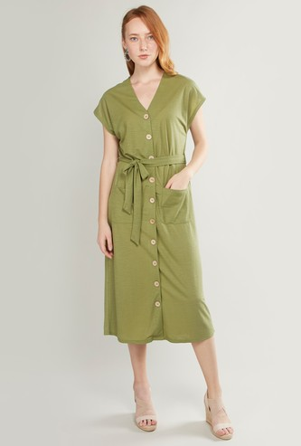 Solid V-Neck Dress with Buttons and Patch Pockets