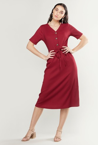 Plain Midi A-line Dress with Short Sleeves and Tie Ups