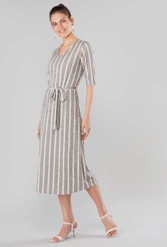 Striped Midi V-neck Dress with Elbow Sleeves