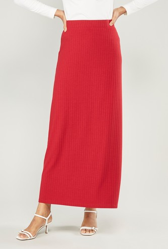 Ribbed Maxi A-line Skirt with Elasticised Waistband