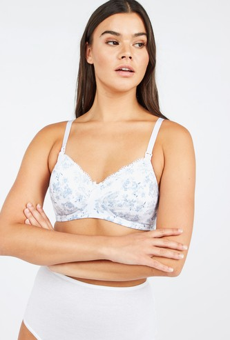 Maternity Floral Print Bra with Hook and Eye Closure