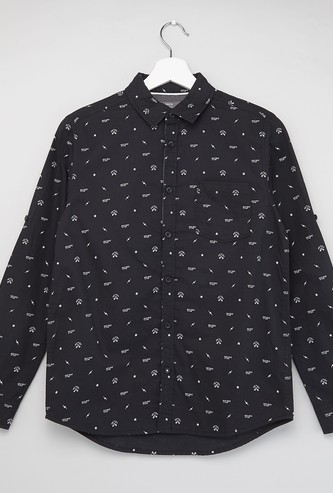 All-Over Print Shirt with Spread Collar and Long Sleeves
