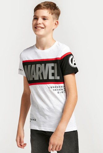 Marvel Printed T-shirt with Mesh Detail