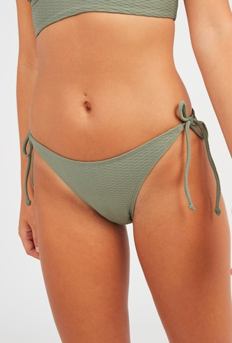Textured High Leg Bikini Briefs with Tie Ups