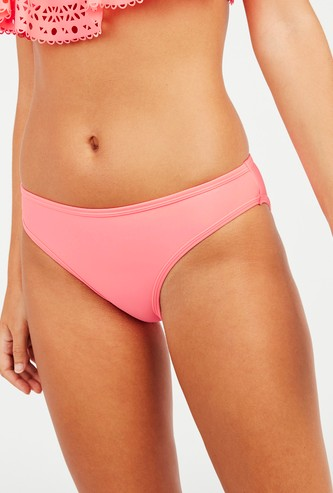 Solid Bikini Briefs with Elasticised Waistband