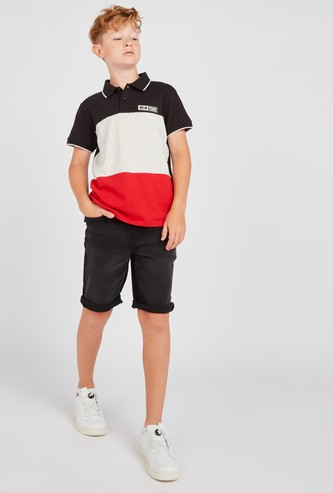 Colour Block Polo T-shirt with Denim Shorts